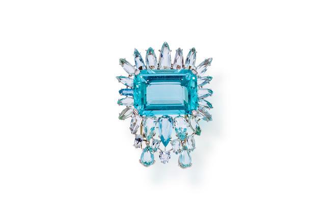 An aquamarine brooch