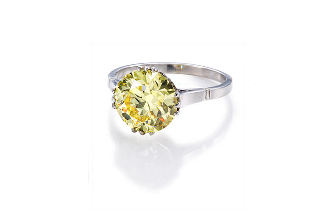 An art deco fancy colored diamond solitaire ring,
