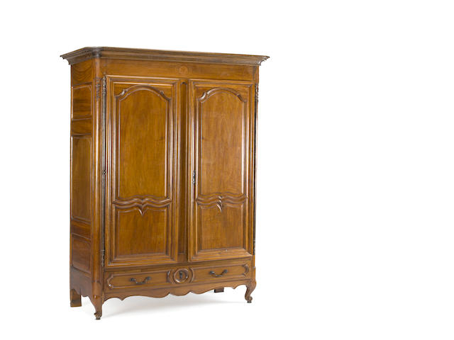 A Louis XV inlaid walnut armoire <BR />mid 18th century