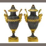 A pair of Louis XVI gilt bronze mounted Brèche grise marble urns, now as lamps<BR />late 18th century