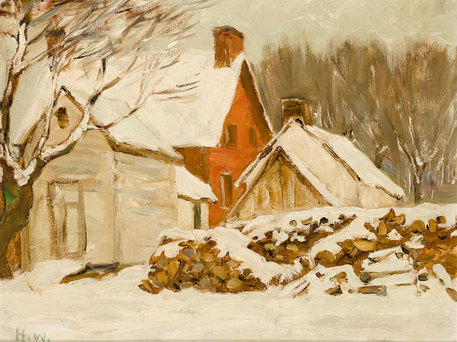 Horatio Walker, RCA,AWCS,RI,RSC,SAA (Canadian, 1858-1938) Farmyard Winter 9 3/4 x 12 1/2in