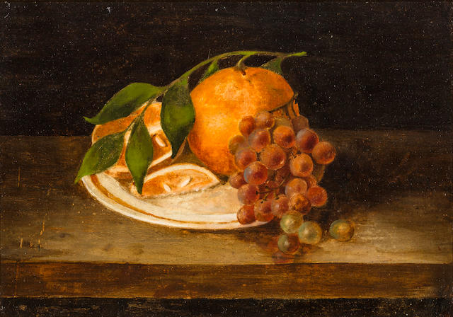 Rubens Peale (American, 1784-1865) Still life with orange 10 x 14in