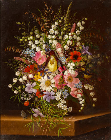 Adelheid Dietrich (German, born 1827) Still life of flowers, oil, 30 x 23 cm.
