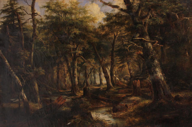Joseph Antonio Hekking (American, 1830-1903) A wooded landscape with a stream, 1859 24 1/2 x 36 1/2in