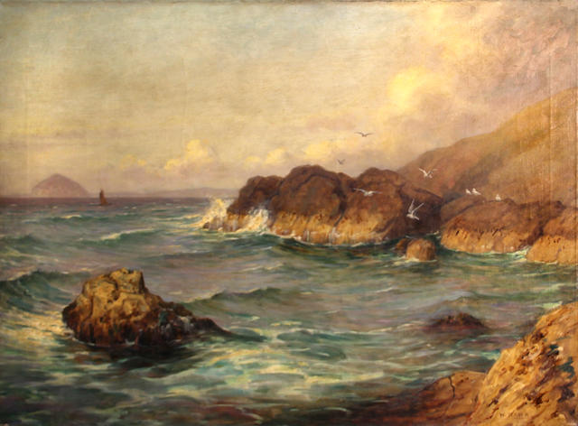 William Barr (British/American, 1867-1933) Rocky coast with sea gulls 24 x 32in unframed