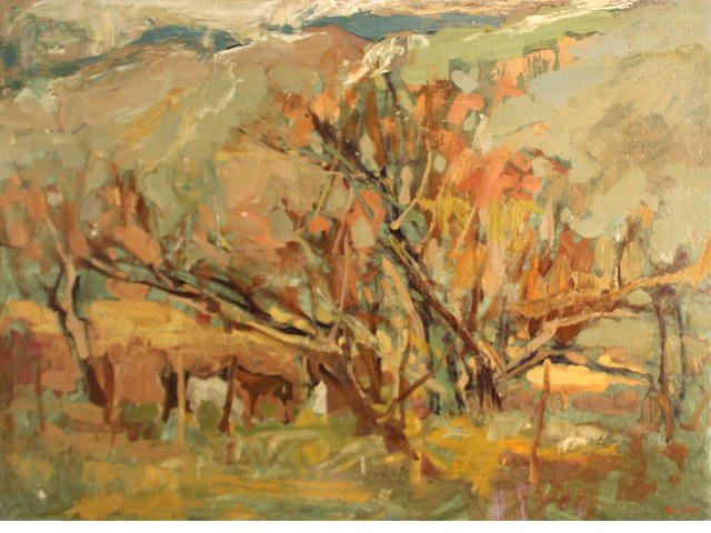 Si Chen Yuan (1911-1974) Autumn trees 30 x 40in