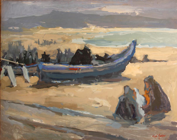 Si Chen Yuan (1911-1974) Boats on the sea shore 24 x 30in