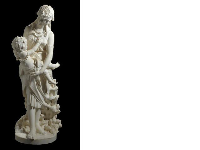 A fine Italian marble group probably depicting the Pharaoh's daughter and the infant Moses<BR />Pietro Bazzanti (Italian, 1825-1895)<BR />late 19th century