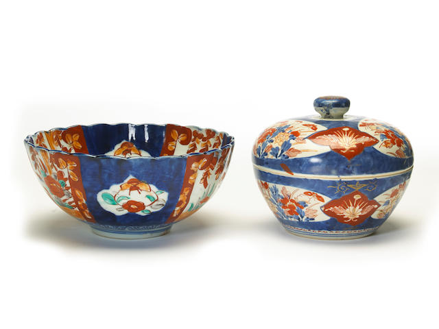 Two Japanese imari porcelain articles