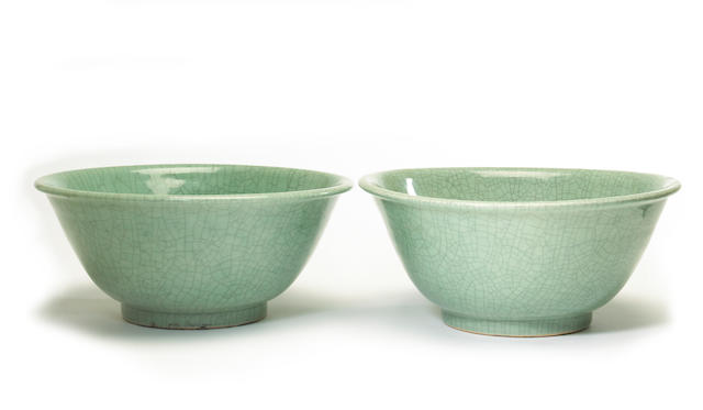 A pair of Chinese celadon crackle glazed porcelain bowls 20th century