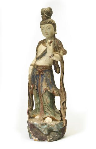 A Chinese polychrome tinted carved wooden figure of Guanyin 20th century