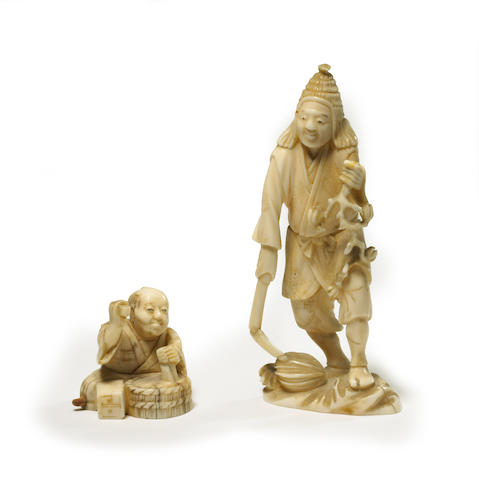 Two Japanese carved ivory okimono