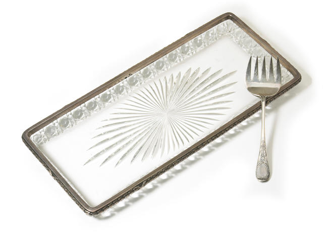 A Russian cut glass rectangular tray with applied silver rim and a serving fork by K. Faberge, Moscow, circa 1899-1908 (Ivan Lebedkin, assay master)  (2)