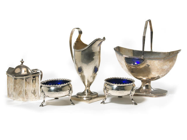 A George III English-Irish silver group of table articles  (5)