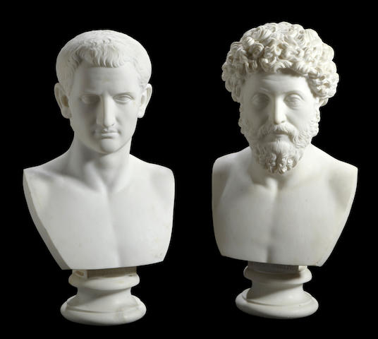 A pair of Italian marble portrait busts of the Roman Emperors Domitianus (51 - 96 AD) and Marcus Aurelius (121 – 180 AD)<BR />after the antique<BR />19th century