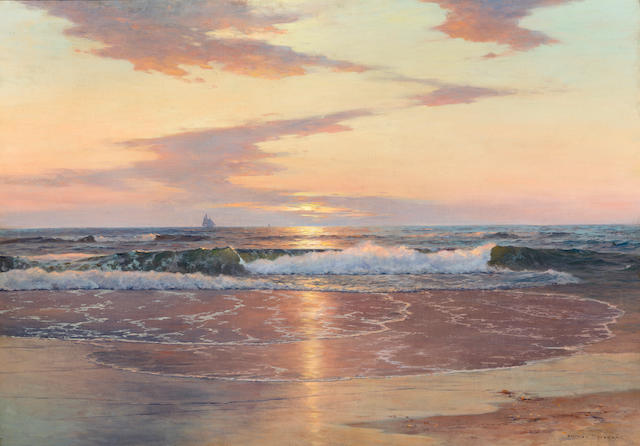 Warren W. Sheppard (American, 1858-1937) Sunrise on the shore 28 1/8 x 40in
