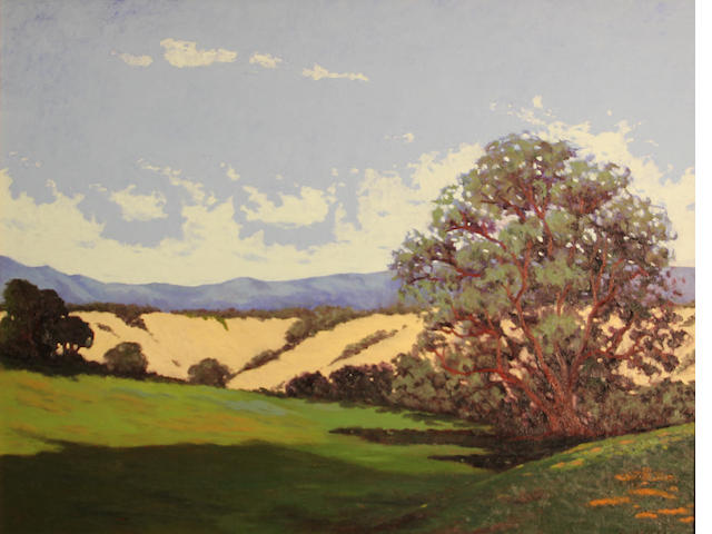 Jesse Don Rasberry (American, born 1940) Wildflowers and sand dunes with mountains in the distance 22 x 28in