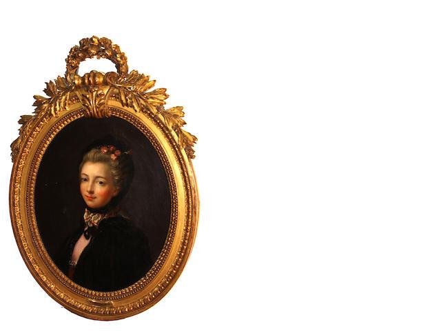 Manner of Drouais, A portrait of a girl