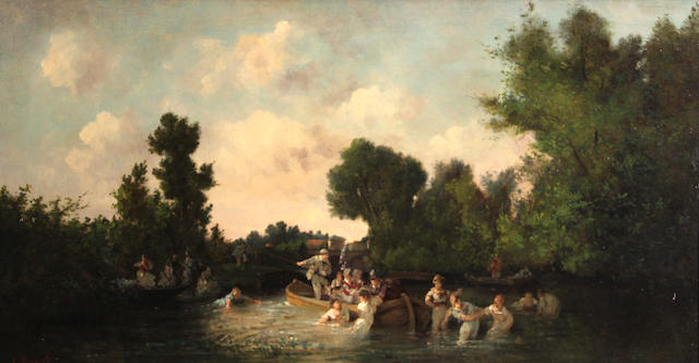L. Benat The boating party 14 x 25 3/4in