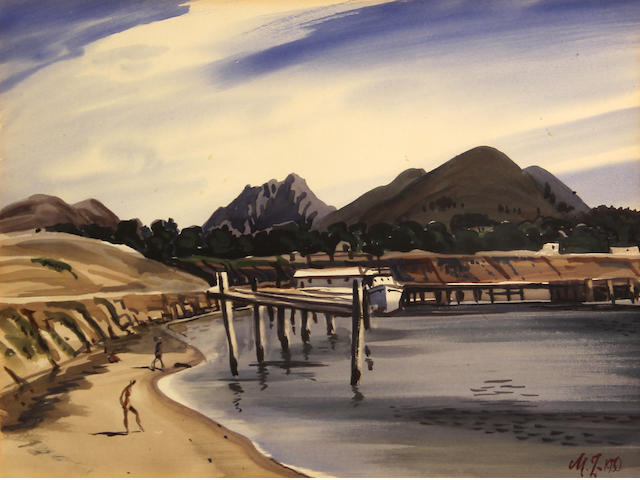 James Milford Zornes (American, 1908-2008) At Morro Bay, 1950 11 3/4 x 14 3/4in