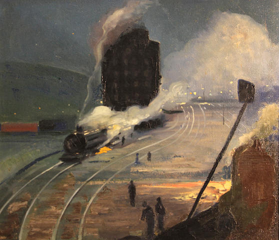 Arnold Franz Brasz (American, 1888-1966) Railroad yard 21 1/4 x 23 3/4in