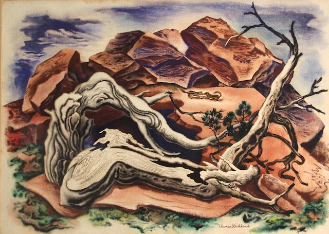 Vance Kirkland (1904-1981) The environment of chipmunks 22 1/2 x 30in