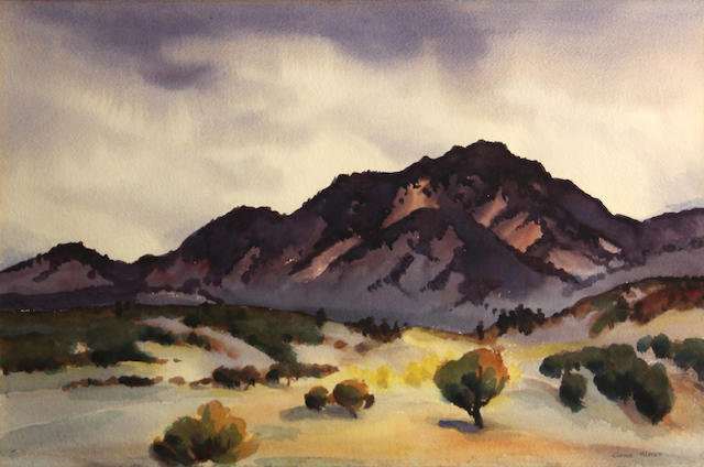 Gene Kloss (American, 1903-1996) Mountains near Taos 17 1/2 x 23 3/4in