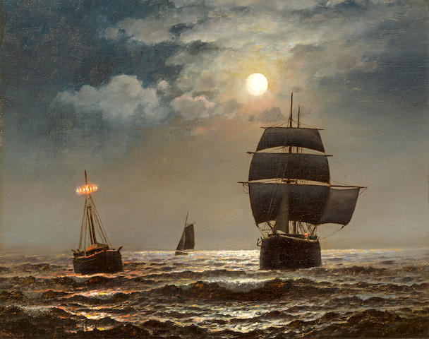 Henry Pember Smith (American, 1854-1907) Passing the lightship by moonlight 12 x 15 in. (20.4 x 38.1 cm.)