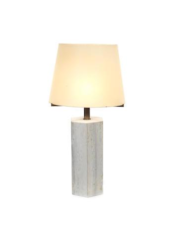 A monumental hexagonal marble table lamp Wabbes, Belgium c 1960