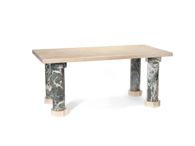 A marble table, supported by  four green marble column legs Jean Charles Moreaux, French C 1940