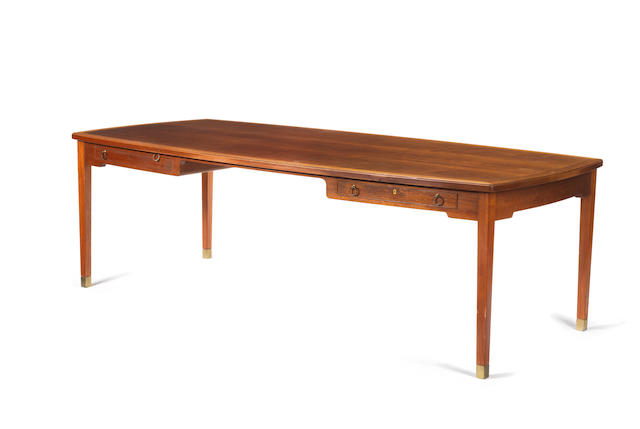 A large mahogany desk Jacob Kjaer, Danish c 1940