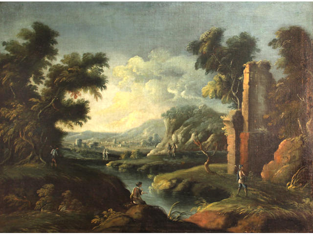 Italian School 18th C., Figures by a stream amongst the ruins; and a companion with (pair), o/c, approx. 29 x 40in ea.