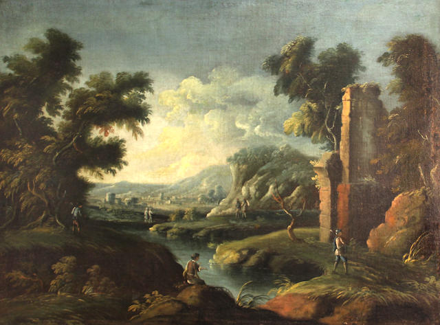Italian School, 18th Century Figures by a stream amongst classical ruins; and a companion painting (a pair) 29 3/4 x 40 1/2in
