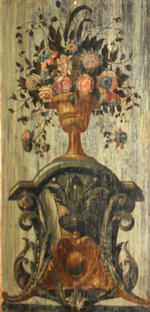 Italian School, Flowers in an urn (a pair), o/pnl, 32 x 16in ea.
