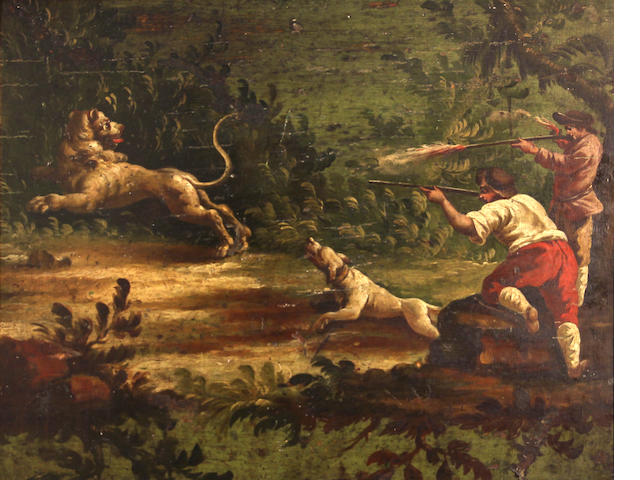 Italian 18th, Two peasants hunting a lion, o/pnl, 17 x 22in