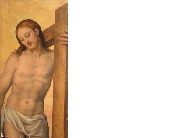 Flemish School, Jesus with his stick, o/pnl, 32 x 16in