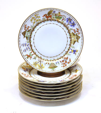 Eight Camille Le Tallec porcelain plates in the Cirque Chinois pattern date code for 1989