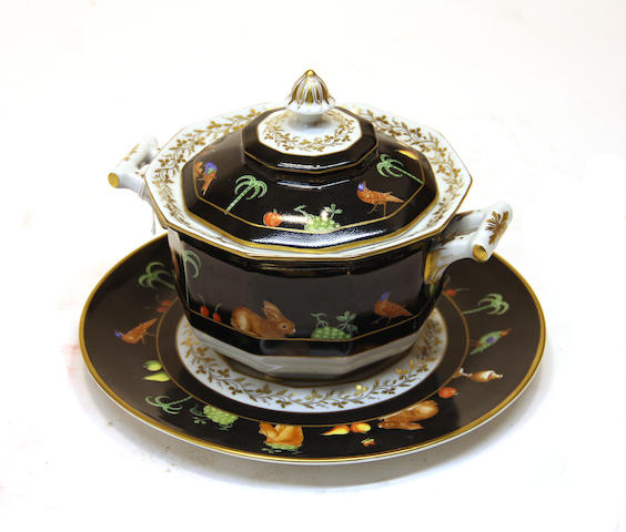 A Camille Le Tallec porcelain tureen, cover and stand in the Black Shoulder pattern date code for 1981