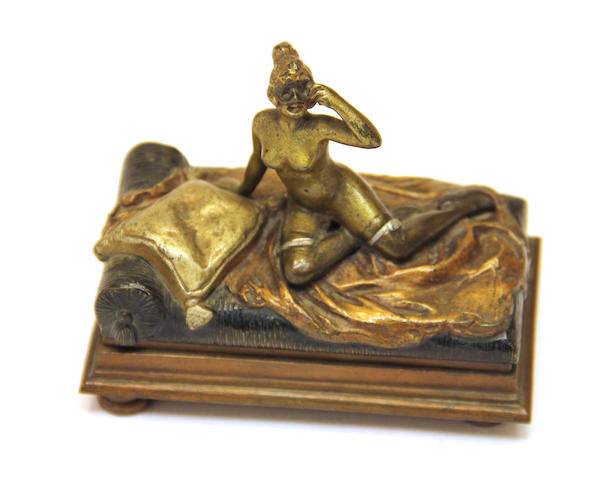 An Austrian gold painted erotic bronze of a female nude early 20th century