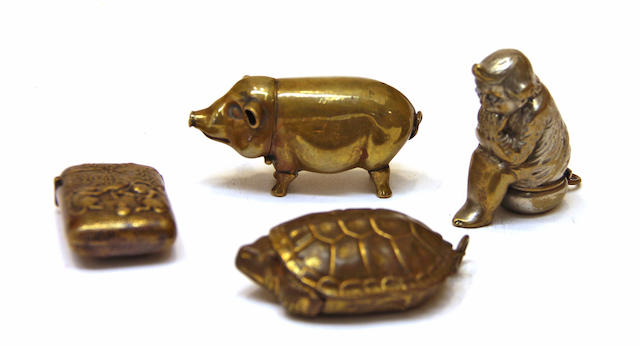 Four brass novelty vesta cases early 20th century