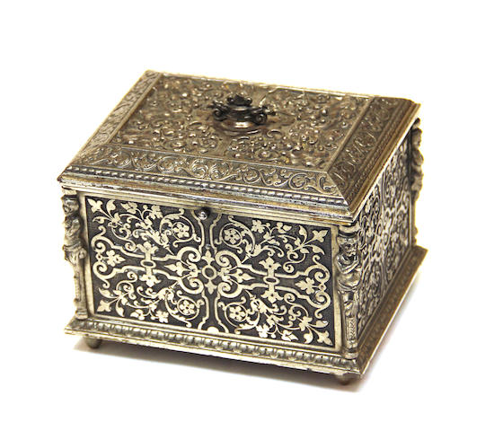 A Renaissance revival steel dresser box O. Prachthauser fourth quarter 19th century