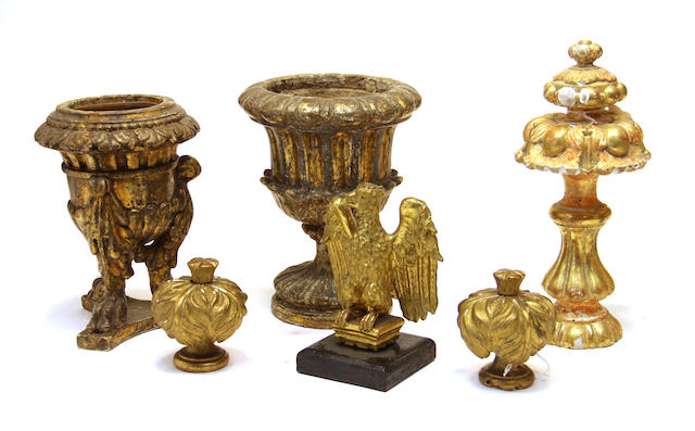Six Neoclassical giltwood articles 19th century