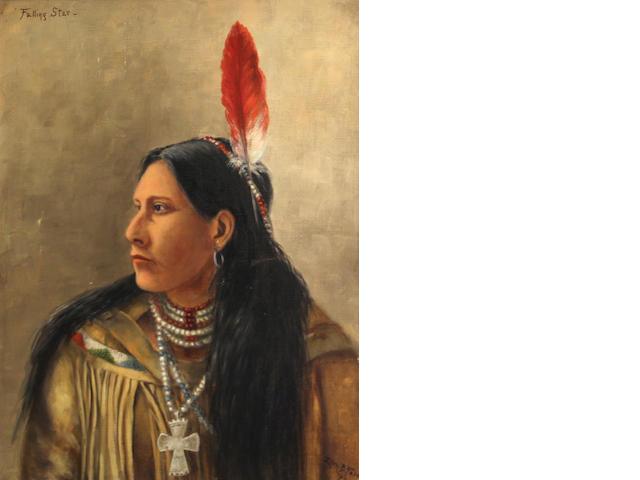 Ellen Francis Burpee Farr (American, 1840-1907) Portrait of Falling Star, 1897 20 x 15in