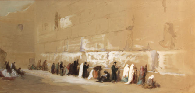 Henry Andrew Harper (British, 1835-1900) The Wailing Wall, Jerusalem sight, 12 3/4 x 25 1/2in