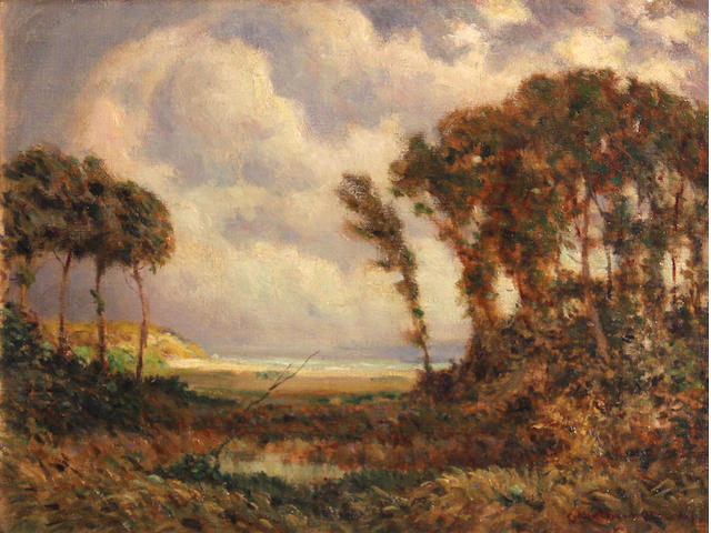 Ethelbert W. Brown (American, born 1870) Windswept trees along the coast 12 x 16in