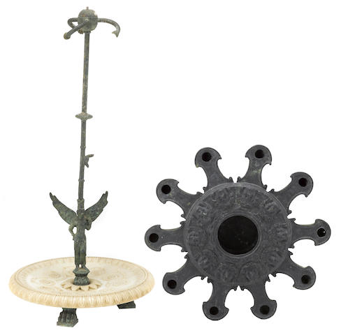 An Italian Grand Tour patinated bronze and alabaster table lamp and a Roman style oil lamp  late 19th/ early 20th century