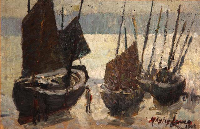 Hayley Lever (American, 1875-1958) Fishing boats, Cornwall, England, 1908 6 1/4 x 9 1/4in