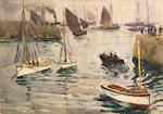 Hayley Lever (American, 1875-1958) Pier at St. Ives, 1910 (a pair) each 10 x 14in