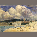 Hayley Lever (American, 1875-1958) Beach at St. Ives (a pair) each 10 x 14in