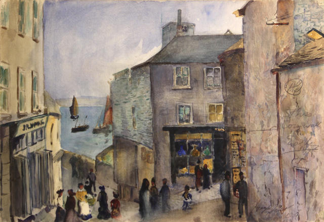 Hayley Lever (American, 1875-1958) Street scene, St. Ives, Cornwall, 1908 14 x 20in